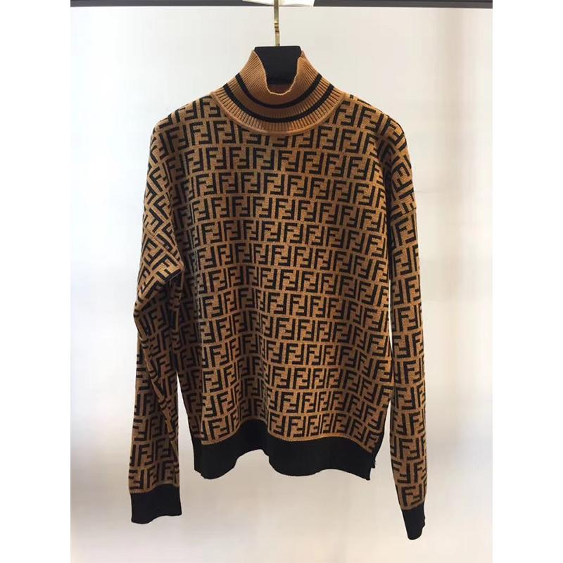 FENDI Intarsia cashmere turtleneck sweater FF turtleneck with ribbed trims cheap 9