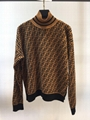 FENDI Intarsia cashmere turtleneck sweater FF turtleneck with ribbed trims cheap