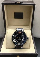 Louis Vuitton Tambour Moon GMT Black Stainless Watch Rubber Strap Q1131 Box