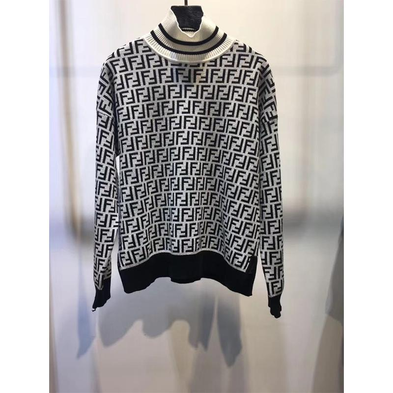 FENDI Intarsia cashmere turtleneck sweater FF turtleneck with ribbed trims cheap 7