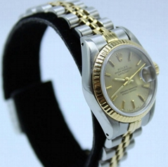 Rolex Ladies DateJust 69173 Tapestry Dial 18K Yellow Gold & Steel Box & Papers