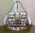 FENDI Logo-printed fringed leather