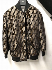 FENDI Oversized flocked velvet bomber jacket Zucca women men fashion jackets