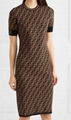 FENDI Stretch jacquard-knit dress FF woven flexible ribbed trims Sweater dress  6