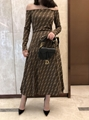 FENDI Stretch jacquard-knit dress FF woven flexible ribbed trims Sweater dress  8