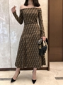 FENDI Stretch jacquard-knit dress FF woven flexible ribbed trims Sweater dress  15