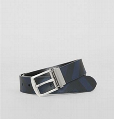 Burberry Reversible London Check and Leather Belt Men