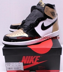 Air Jordan Retro 1 Gold Toe White Black Patent Leather Sneakers Men's available