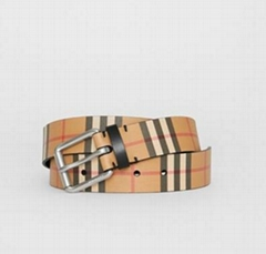 Burberry Check Leather Belt Men buckle belts