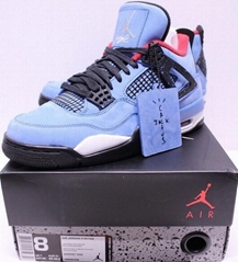 Air Jordan Retro 4 Cactus Jack Travis Scott University Blue Sneakers Men's size