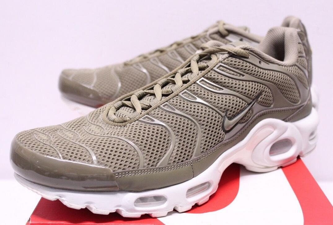 half off ec3de 7d27c Nike Air Max Plus BR TN Trooper Olive Green White Sneakers ...
