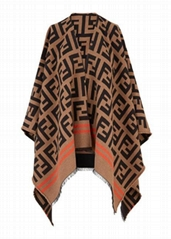 Fendi Wool and silk blend jacquard poncho FF logo Shawl scarf