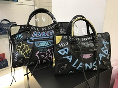 Balenciaga Classic City AJ Graffiti-Print Satchel Bag women luxury brand handbag