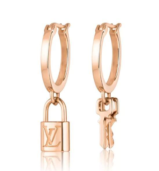 Louis Vuitton LOCKIT HOOP EARRINGS PINK GOLD LV clip on earrings