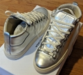 Balenciaga Arena Metallic Silver Leather High-Top Sneakers