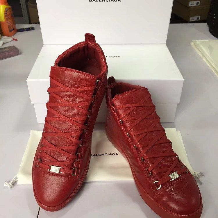 Balenciaga Arena Leather High-Top Sneakers red