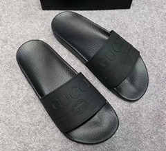 New 2018 Gucci Black Rubber Slides Men's and women's slippers fashion sandals