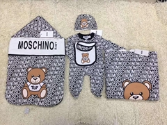 Moschino Newborn Baby Cotton Hat Wrap Bodysuit Romper Blanket Set Baby layette