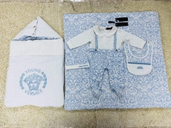 Versace Baroque Print Footed Baby Body and Hat Gift Designer Babys Clothes set