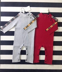 Burberry Check Detail Cashmere ribbed-knit jumpsuit sweater kids baby girl boy