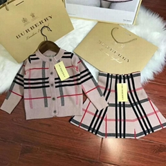 burberry Baby Girl Check Print Cardigan plaid pattern sweater check skirt dress