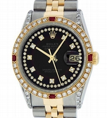 Rolex Mens Datejust 16013 Gold Black Ruby Diamond Dial
