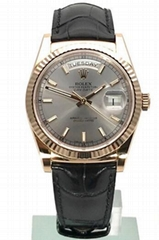 Rolex Day-Date 36 18 kt Everose-Gold Leder 118135 Rhodium