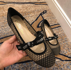 DIOR 2018ss flat shoes Net upper with custom dot mesh splicing alpaca-- Net surface