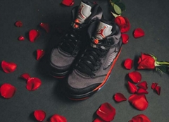 Air Jordan 5 Satin Bred AJ5 136027-006 Black red silk