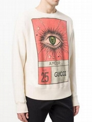 NEW GUCCI MEN'S SOFT NUDE COTTON EYE PRINT AMOUR SWEATSHIRT SWEATER LARGE