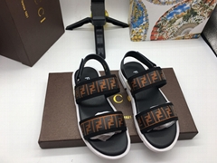 FENDI KIDS Canvas and leather double F straps sandals kids boy girls shoes cheap