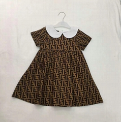 luxury brand Fendi Baby Brown FF Logo short sleeve dress Girls kids fashion