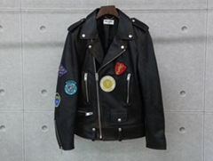 YSL embroidered badges motorcycle leather old first layer sheepskin jacket