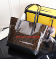 Fendi FF Shopping Tote leather trim is illustrated boldy embossed Fendi patch