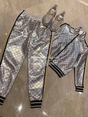 GUCCI Silver laminated sparkling GG jersey jacket tracksuit jogging pant pants  (Hot Product - 1*)