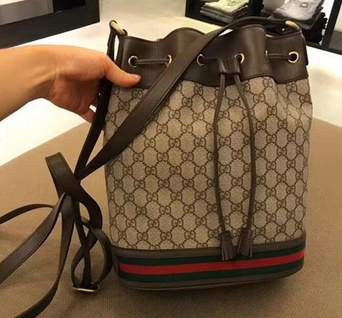 7bedab87d Gucci Ophidia GG Bucket Bag Supreme canvas Web stripe Beige cotton linen  lining ...