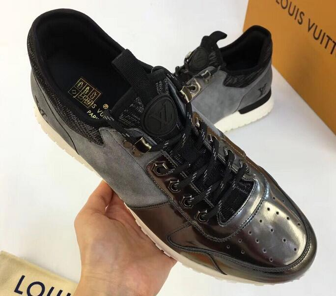 LOUIS VUITTON lv Run Away sneaker Technical laces metallic trim embroidered LV Initials logo.