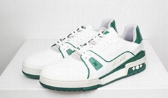 LV TRAINER SNEAKER 1A54HL Casual low-top Green calf leather rubber outsole