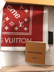 Supreme Louis Vuitton Monogram Red Bandana Brown LV scarves scarf cheap sale
