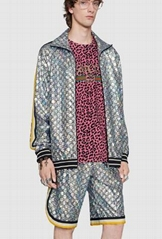 Gucci tracksuit activewear set Laminated sparkling GG jersey jacket and shorts