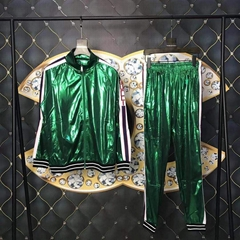 Gucci tracksuit activewear laminated Iridescent green laminated jersey jacket