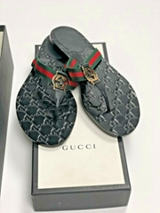 Gucci Black Leather GG Logo Embossed Web Strap Thong Sandals flip flop shoes