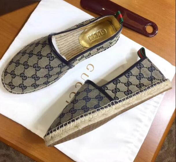 5f15b226cd2 ... Gucci GG Supreme Bees canvas espadrilles embroidered with bees flats  men women ...