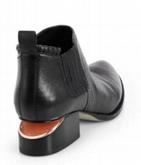 Alexander Wang Kori Leather Ankle Boots stacked heel and a lacquered V inset