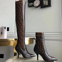 Fendi Rockoko Thigh High Leather & Sock Boots knit Point toe Pull-on style boot