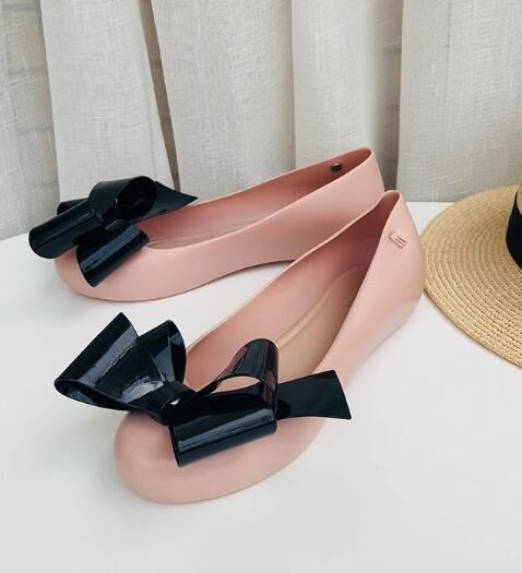 MEL DREAMED BY MELISSA Strawberry Bow Jelly Flats WOMENS Black and pink