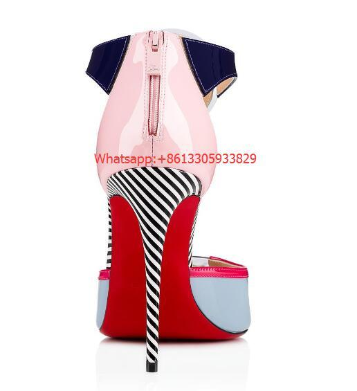 christian louboutin the Eclipse open-toe sandal multi-colored patent leather  2