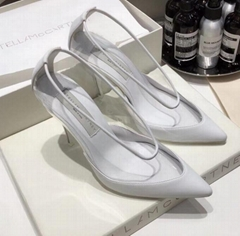 stella mccartney pvc Transparent Pumps white womens heel high fashion shoes