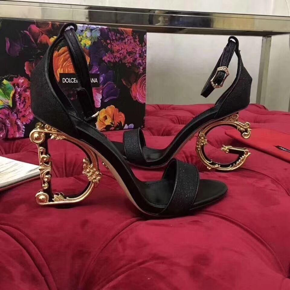 Dolce Gabbana Vally Mary Janes in lurex BAROQUE sculpted heel