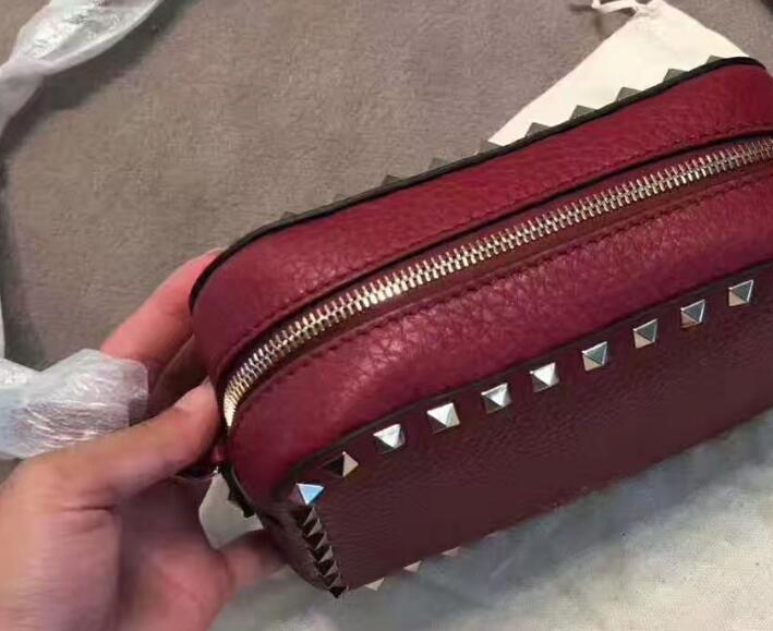Valentino Rockstud Camera Crossbody Bag Grained Rosso grained leather